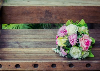 Wedding Bouquet on the background is wooden bench